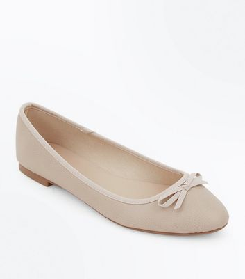 Wide Fit Stone Square Toe Ballet Pumps New Look