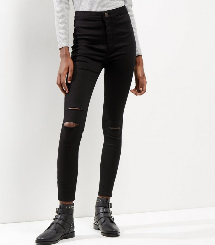 533082358a0a80 Black Ripped Knee High Waist Super Skinny Hallie Jeans New Look