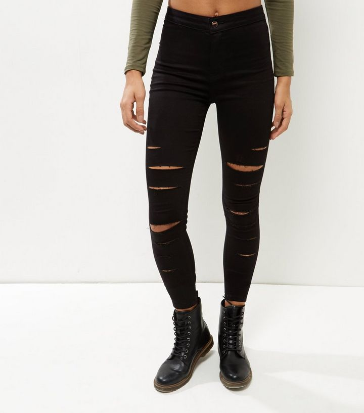 outlet online reputable site brand new Black Extreme Ripped High Waist Super Skinny Jeans | New Look