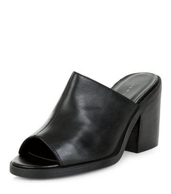 Black Leather Peep Toe Block Heel Mules