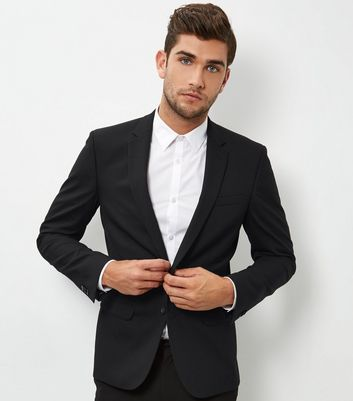 Black Skinny Suit Jacket New Look