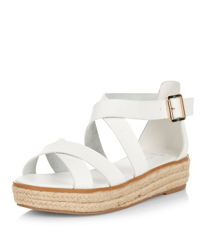 f481bea2f54 Wide Fit White Cross Strap Espadrille Sandals