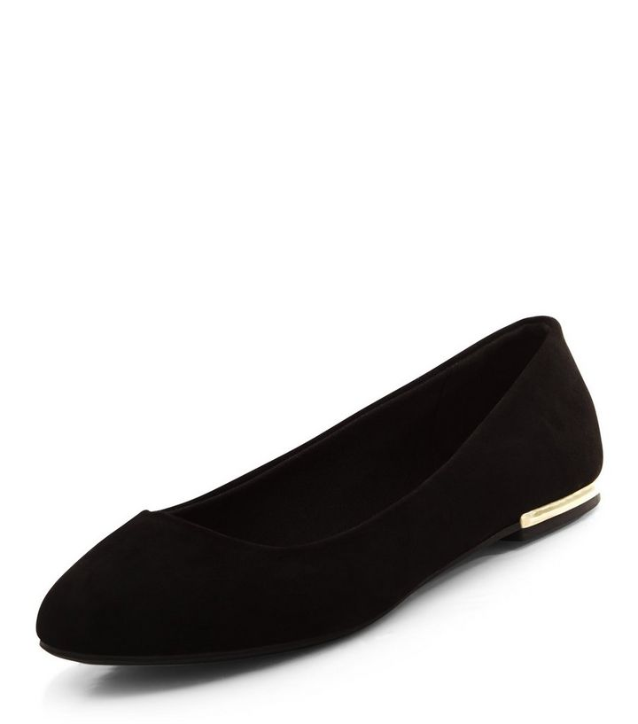 5f829f66579 Wide Fit Black Suedette Metal Heel Ballet Pumps Add to Saved Items Remove  from Saved Items