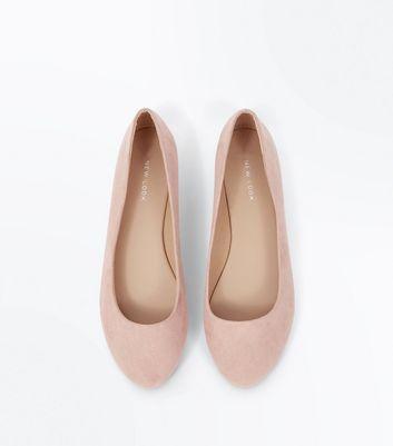 Wide Fit Shell Pink Suedette Metal Heel Ballet Pumps New Look