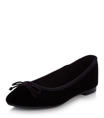 Black Velvet Ballet Pumps | New Look