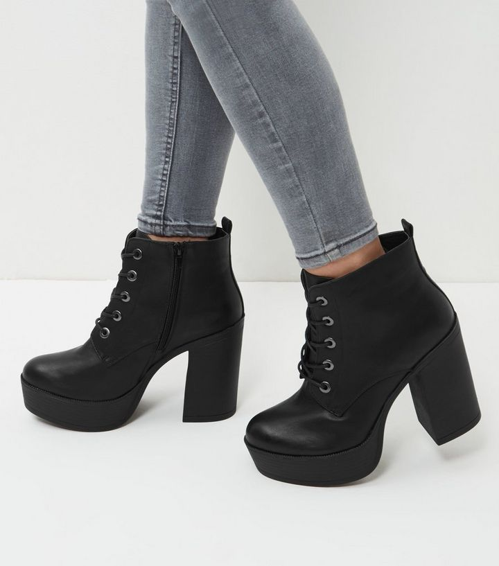 774b932606 Wide Fit Black Leather-Look Lace Up Block Heel Boots