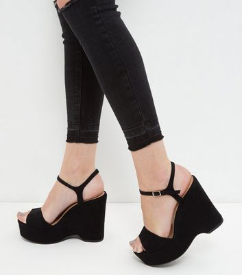 Fit Wedge Black SandalsNew Wide Suedette Chunky Look EDI2H9