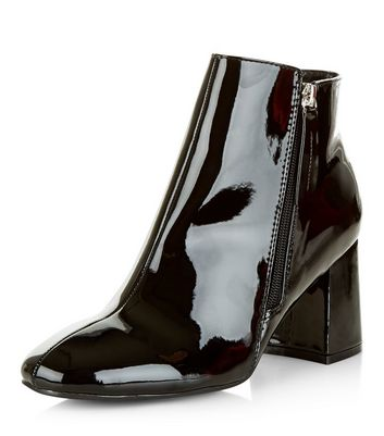 Black Patent Flared Heel Ankle Boots
