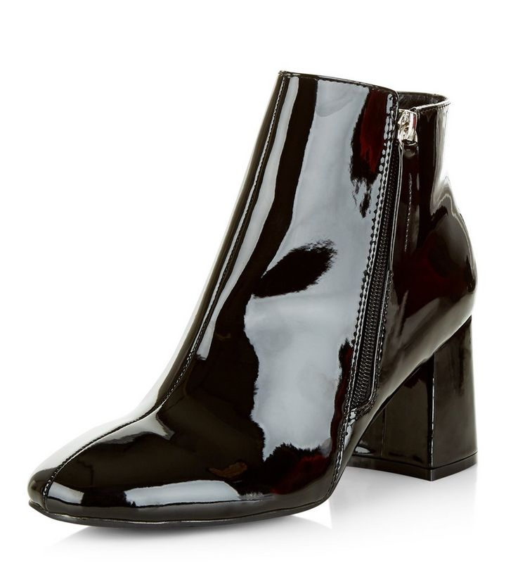 lace up in elegant and graceful super service Black Patent Flared Heel Ankle Boots Add to Saved Items Remove from Saved  Items