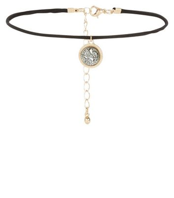 Dark Grey Shell Disc Choker New Look