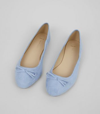 Wide Fit Pale Blue Suedette Ballet Pumps New Look