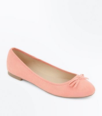 Wide Fit Coral Suedette Ballet Pumps New Look