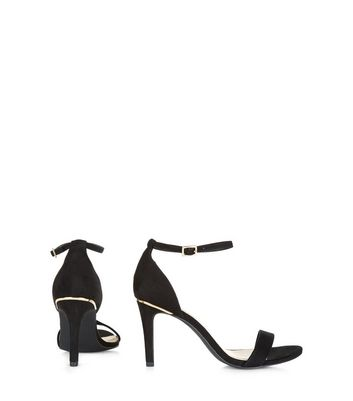 Wide Fit Black Suedette Metal Trim Ankle Strap Heels New Look