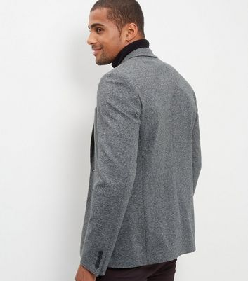 Grey Textured Blazer New Look