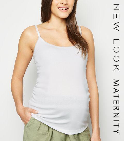 45bce0d0aafd32 ... Maternity White Longline Cami Top ...