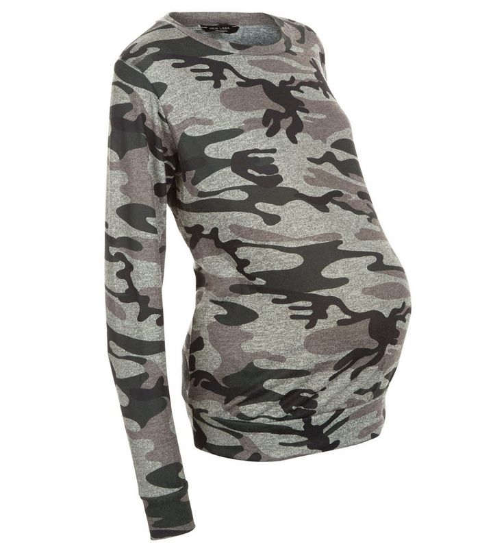 c7f36813d9039 Maternity Green Camo Print Sweater | New Look