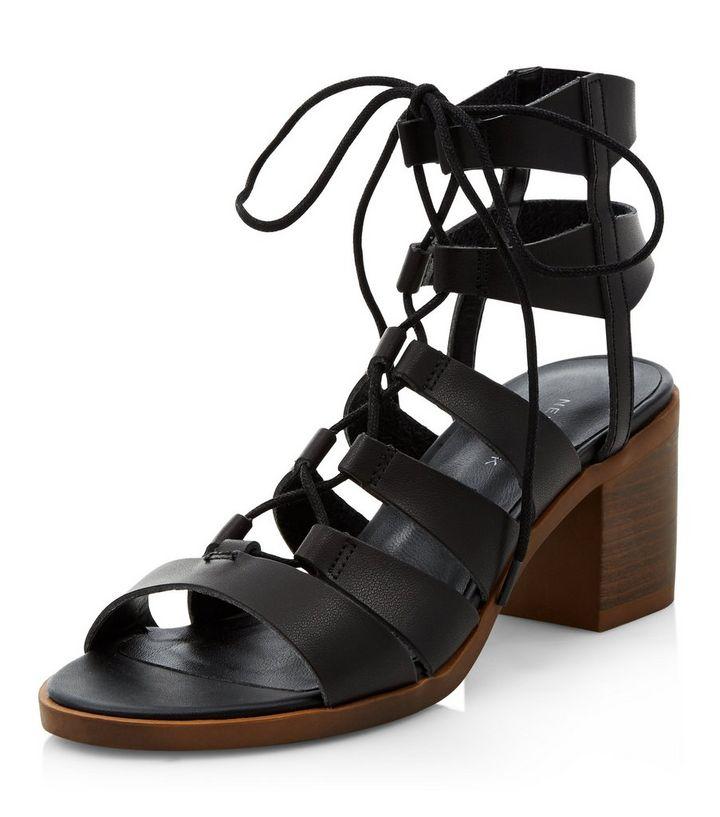 aea0fde7839 Black Ghillie Block Heel Sandals