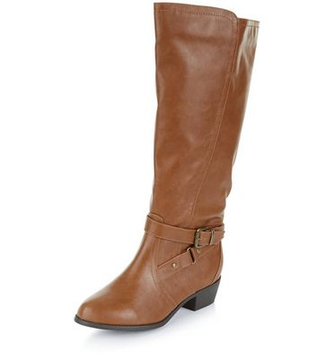 Wide Fit Tan Knee High Boots   New Look