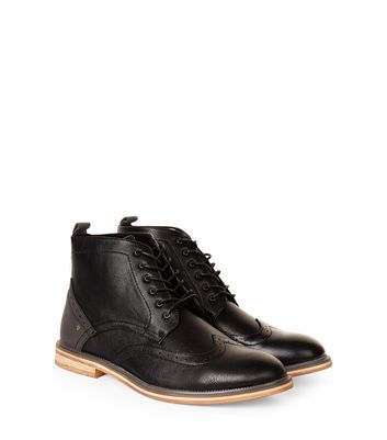 Black Brogue Ankle Boots   New Look