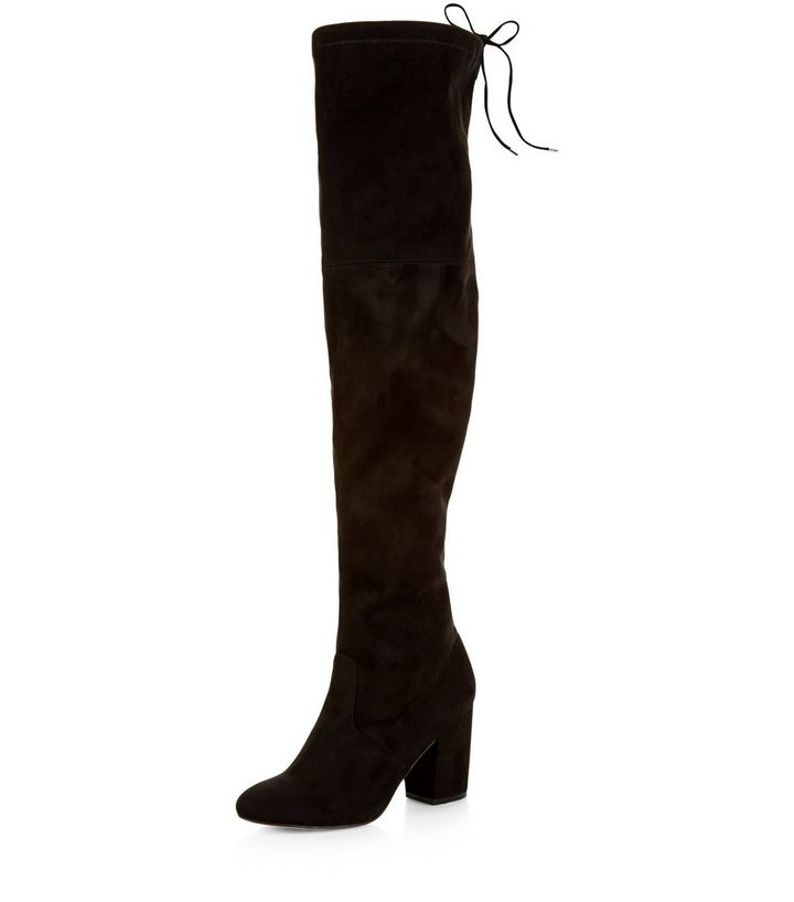 44dfbd1486 Black Suedette Tie Back Over The Knee Boots | New Look