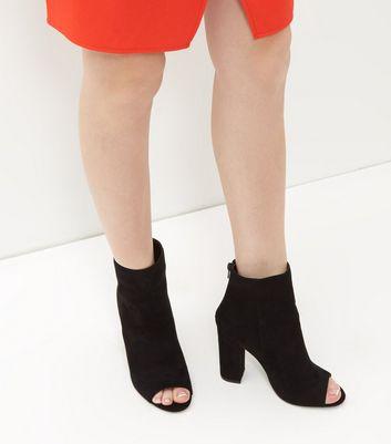 NEW Women/'s Black Open Toe Ankle Bootie