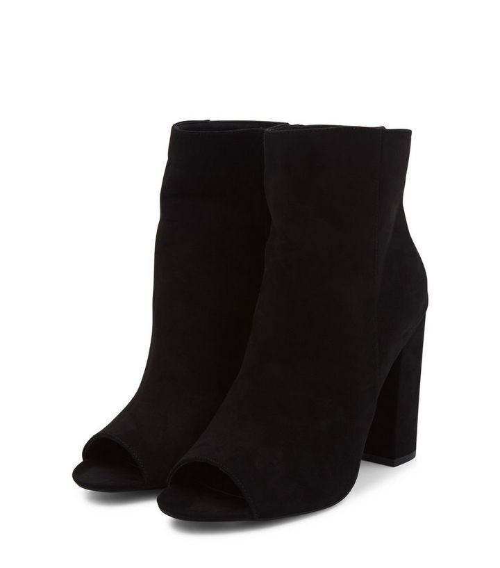 ... Black Suede Peep Toe Block Heel Ankle Boots. ×. ×. ×. VIDEO Shop the  look 5608b7e29