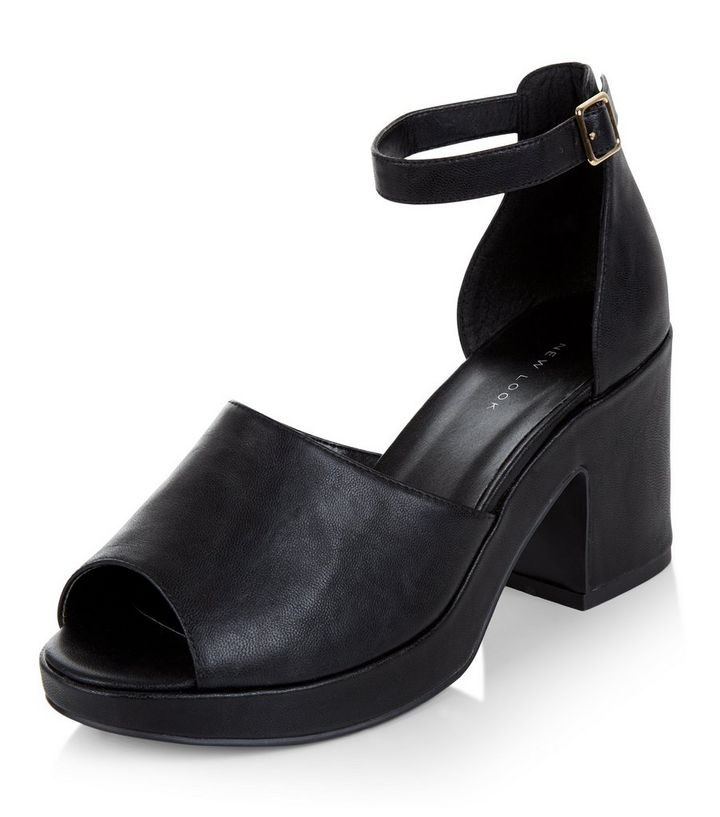 7deac5384d0 Black Peep Toe Ankle Strap Block Heels Add to Saved Items Remove from Saved  Items