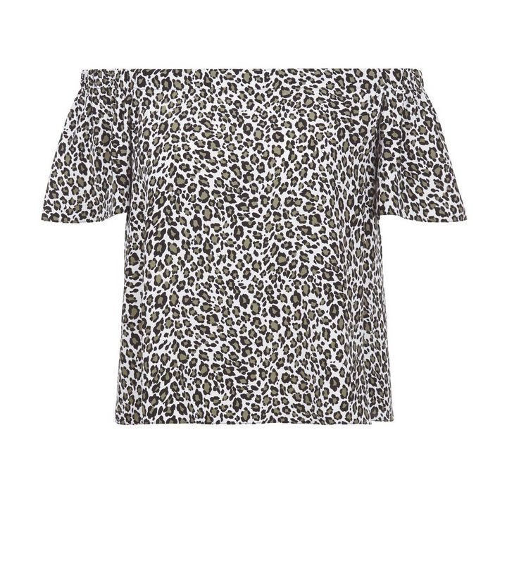 8bd68d1518a5 White Leopard Print Bardot Neck Top | New Look