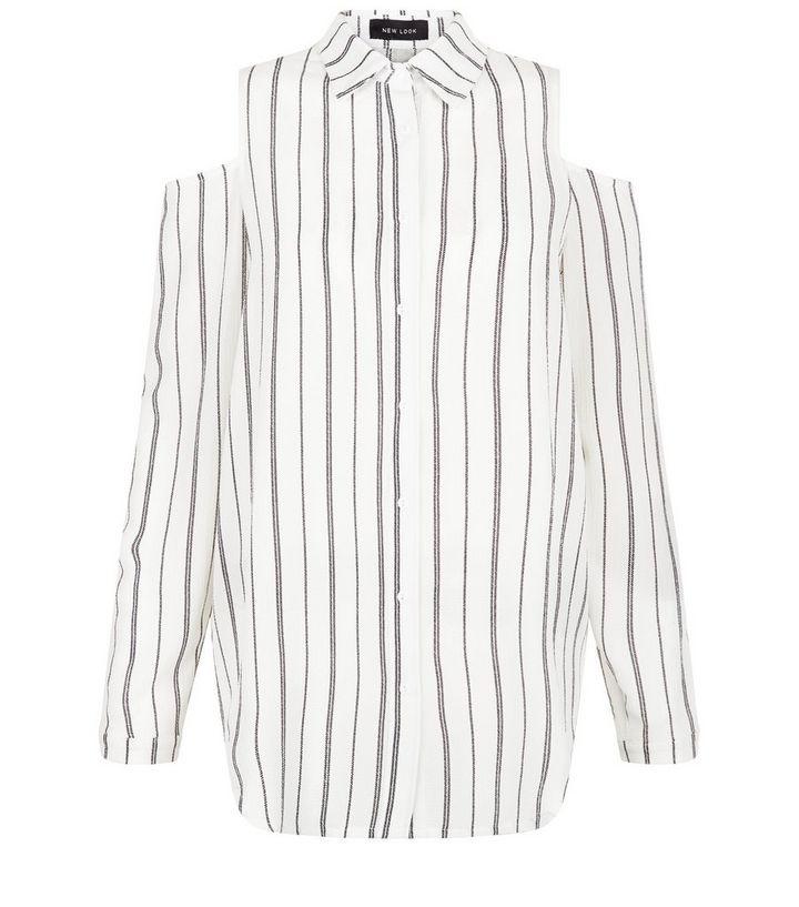 57972f46ae4fab White Pinstripe Cold Shoulder Shirt
