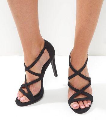 Black Suedette Strappy Heeled Sandals