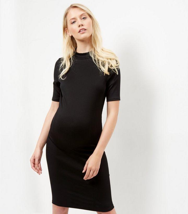 f884d9e0207b5 Maternity Black Ribbed Funnel Neck 1/2 Sleeve Dress | New Look