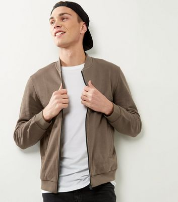 Khaki Jersey Bomber Jacket New Look