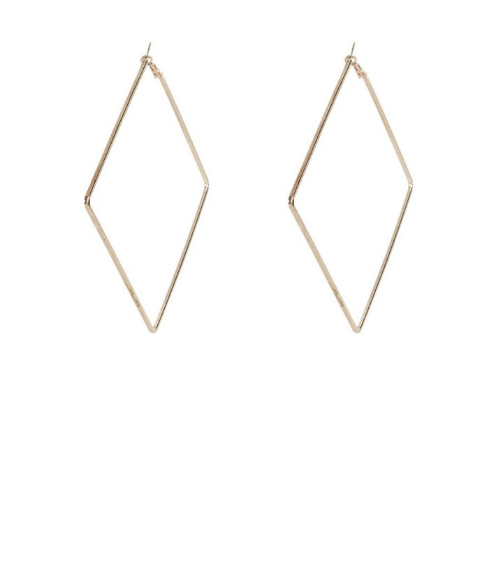 dfd3070ad9d804 Gold Oversized Square Hoop Earrings | New Look