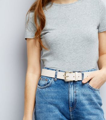 Cream Quilted Jeans Belt New Look