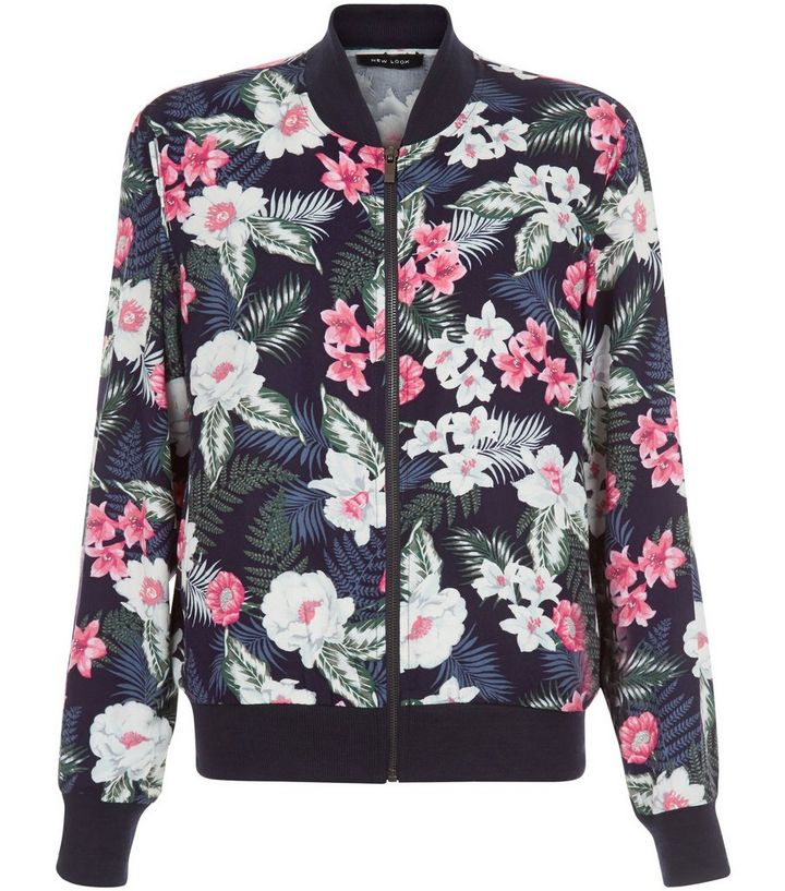 de0d09ee3 Blue Tropical Floral Print Bomber Jacket Add to Saved Items Remove from  Saved Items