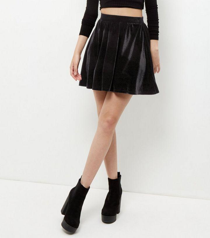 baaed23983 Black Velvet Skater Skirt