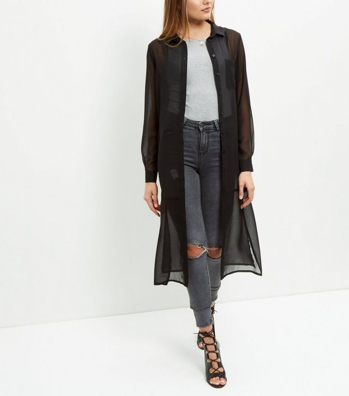 163f69e1a ... Black Sheer Single Pocket Longline Shirt. ×. ×. ×. Shop the look