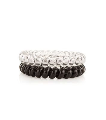 2 Pack Black and Clear Spiral Hair Bands New Look