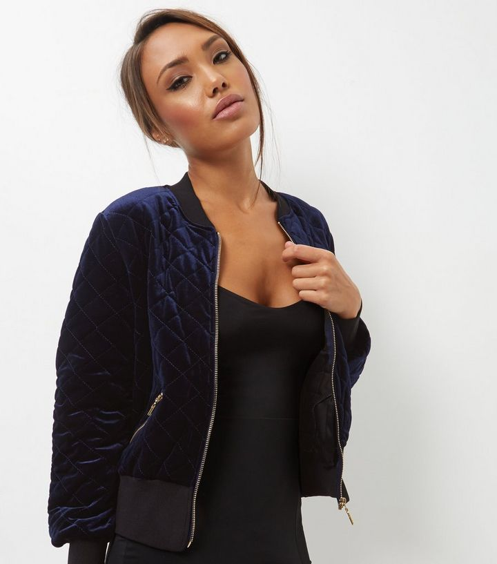 Blue Vanilla Navy Quilted Bomber Jacket New Look
