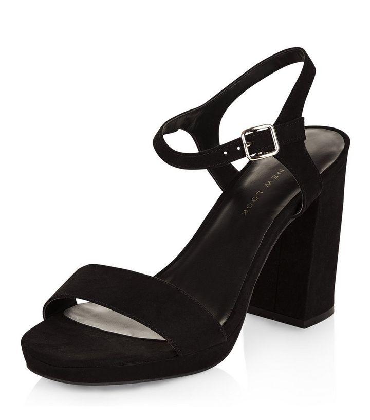 65d89b8a014 Wide Fit Black Suedette Ankle Strap Block Heel Sandals