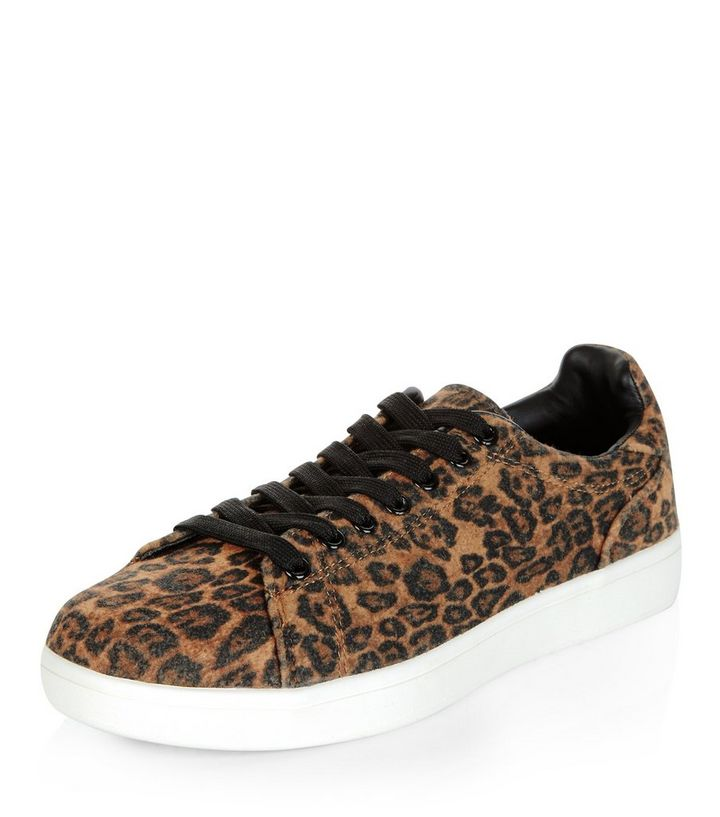 5c2335e790bbb Stone Leopard Print Trainers | New Look
