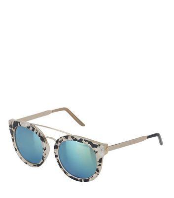 Cream Animal Print Mirrored Sunglasses New Look