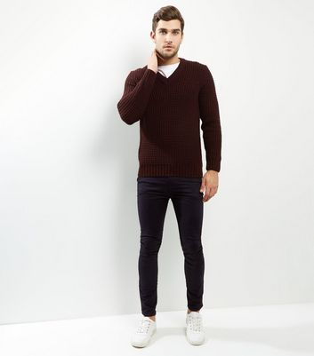 Burgundy V Neck Long Sleeve Jumper New Look