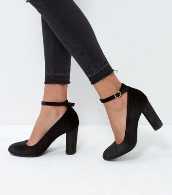 Black Velvet Ankle Strap Block Heels