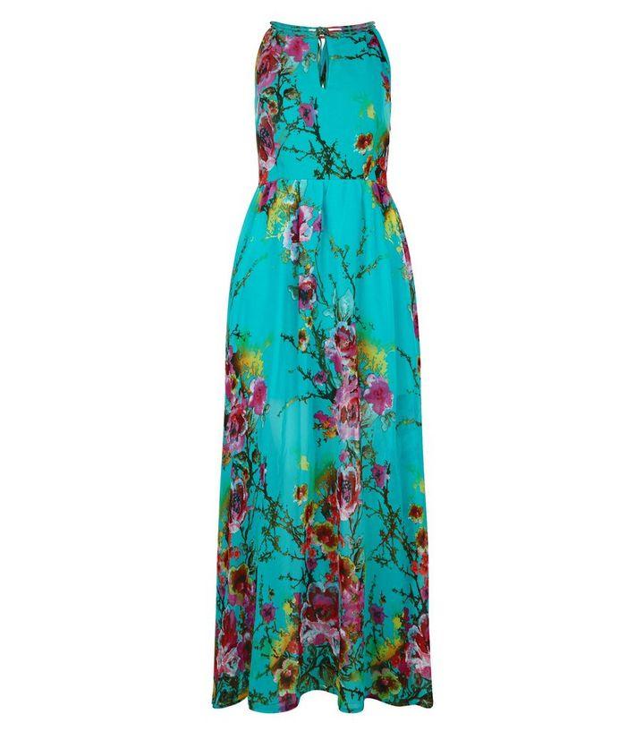 9dce1582a1c0 Blue Vanilla Turquoise Floral Print Sleeveless Maxi Dress