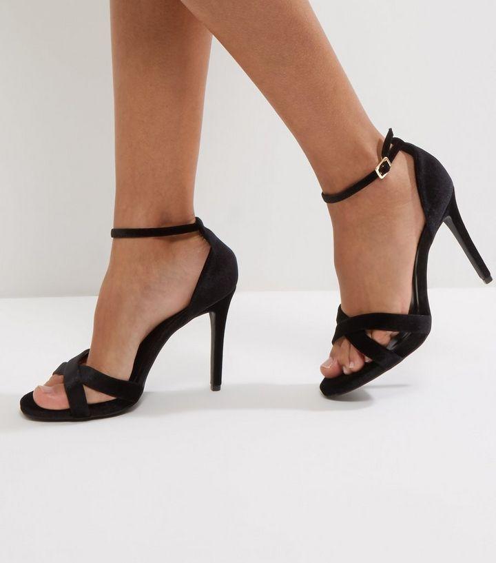 6dfddbdc0 Wide Fit Black Velvet Cross Strap Heeled Sandals