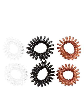 6 Pack White Black and Brown Spiral Hair Bands New Look