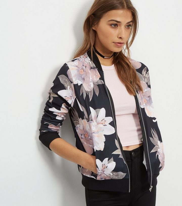 41c352938 Black Oversized Floral Print Bomber Jacket Add to Saved Items Remove from  Saved Items