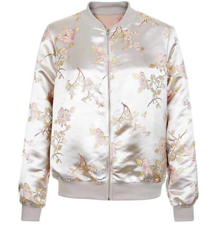 77a81c2bc Cameo Rose Pink Floral Embroidered Satin Bomber Jacket Add to Saved Items  Remove from Saved Items