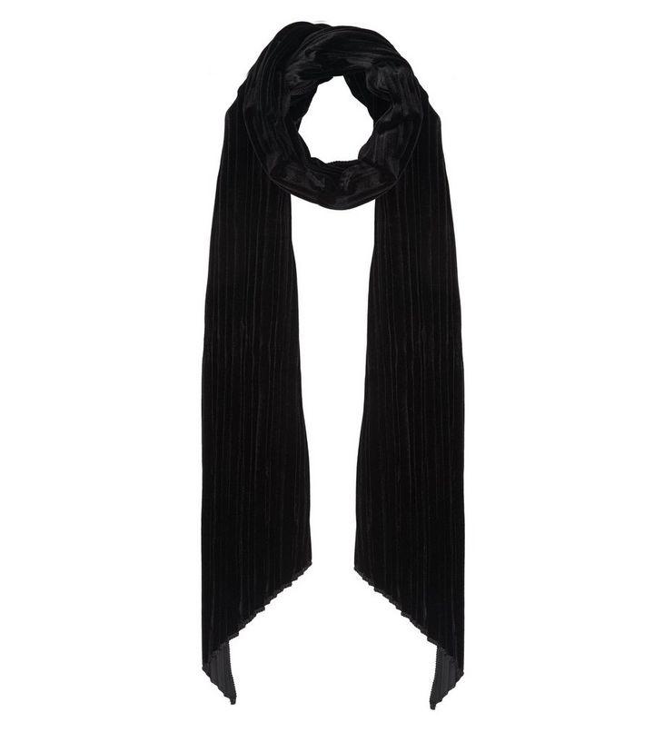 Écharpe étroite plissée en velours noir   New Look 716174ee6f8